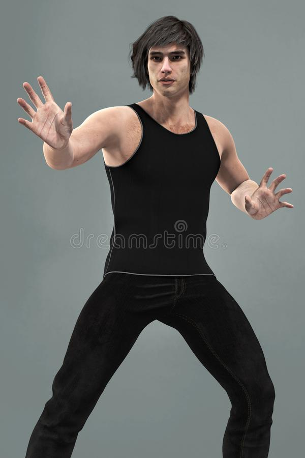 Handsome man in contemporary urban fantasy arms outstretched pose. Rendering of a handsome urban fantasy style contemporary male in a mage arms outstretched vector illustration