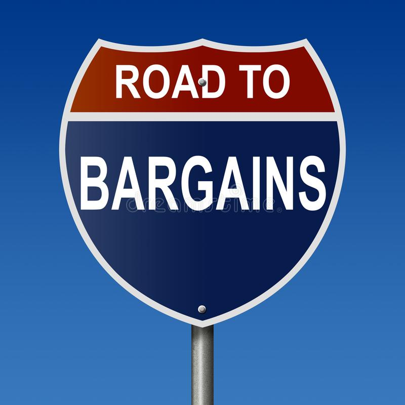 Road to Bargains sign. Rendering of a highway sign Road to Bargains royalty free illustration