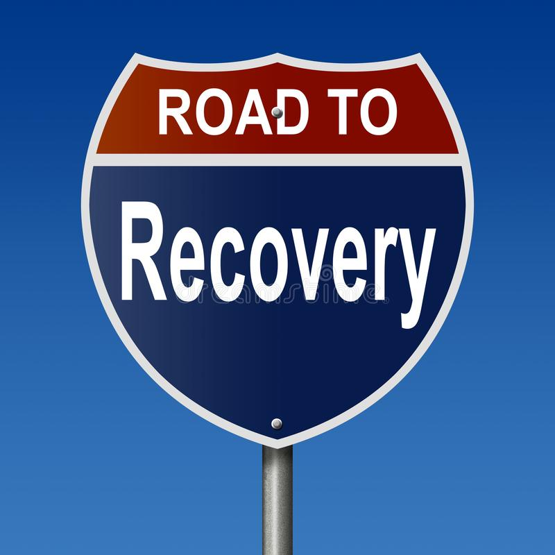Road to Recovery sign. A rendering of a highway sign Road to Recovery vector illustration