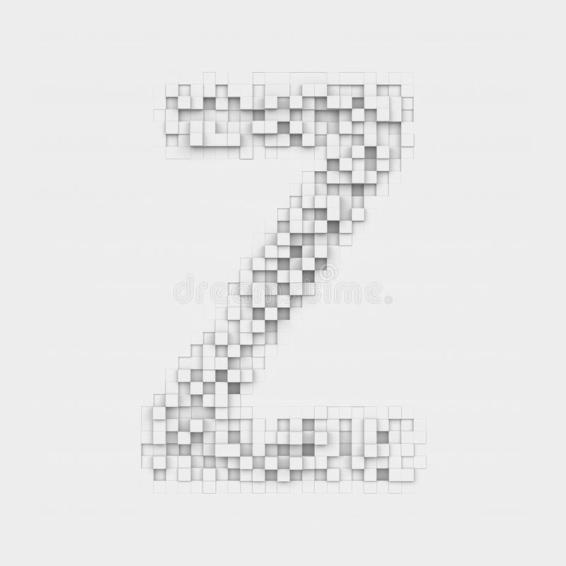 Rendering large letter Z made up of white square uneven tiles stock illustration
