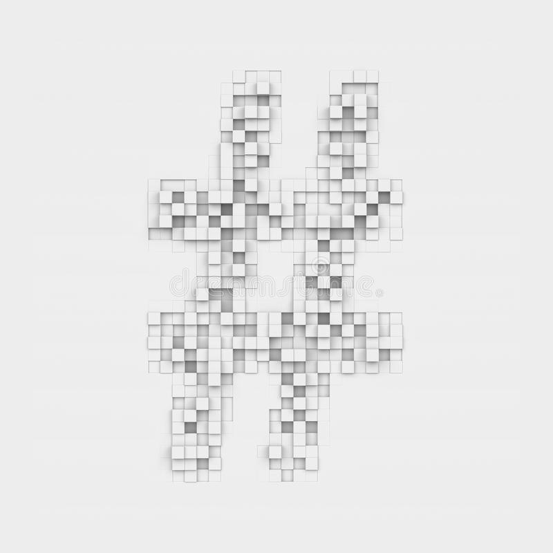 Rendering Large Octothorp Symbol Made Up Of White Square Uneven