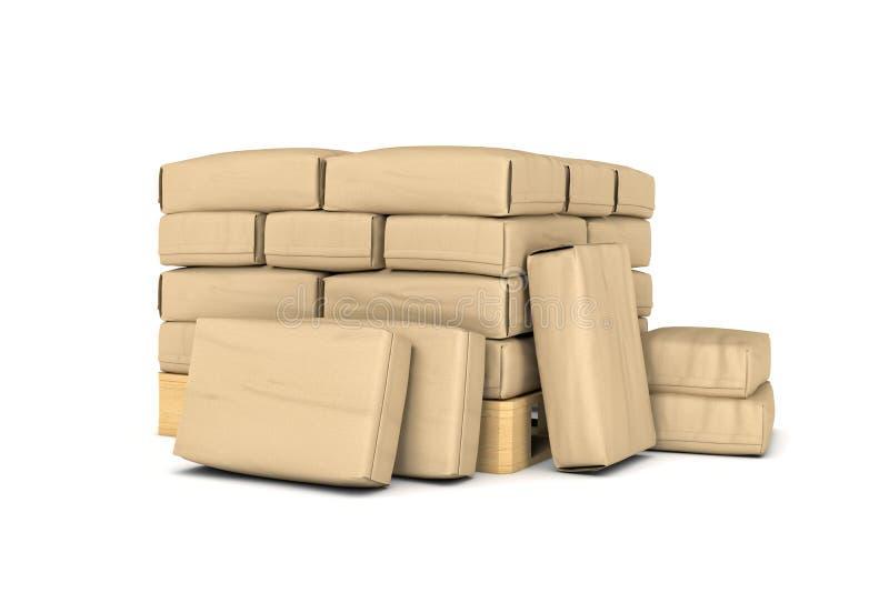 Rendering of large paper bags rest on pallet vector illustration