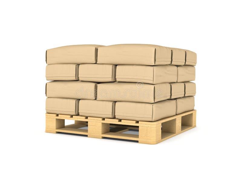 Rendering of large paper bags rest on pallet stock illustration