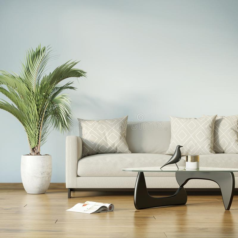 Rendering of a modern blue living room with a beige sofa royalty free stock images
