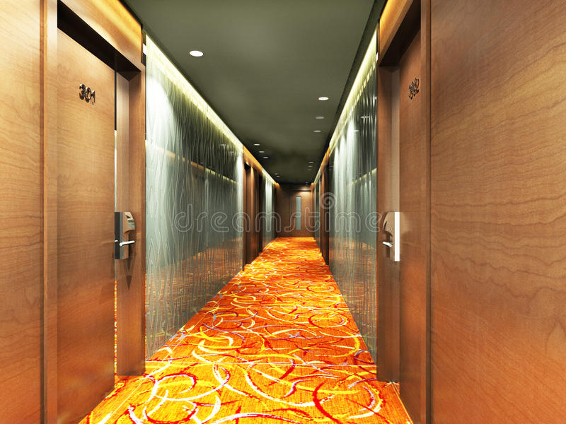 Rendering modern corridor. Modern corridor interior image (3D rendering