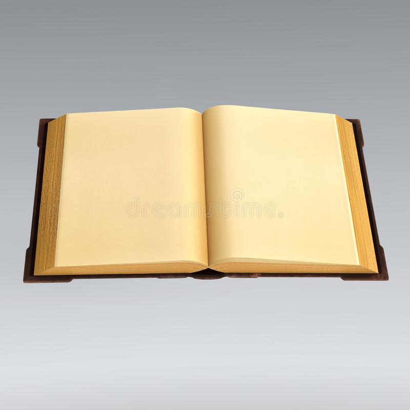 Rendering of an old book open with blank pages stock illustration
