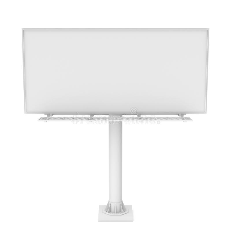 Rendering of one large white blank steel roadside billboard with no ads stock illustration