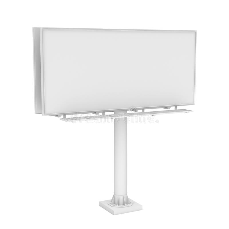 Rendering of one large white blank steel roadside billboard with no ads royalty free illustration
