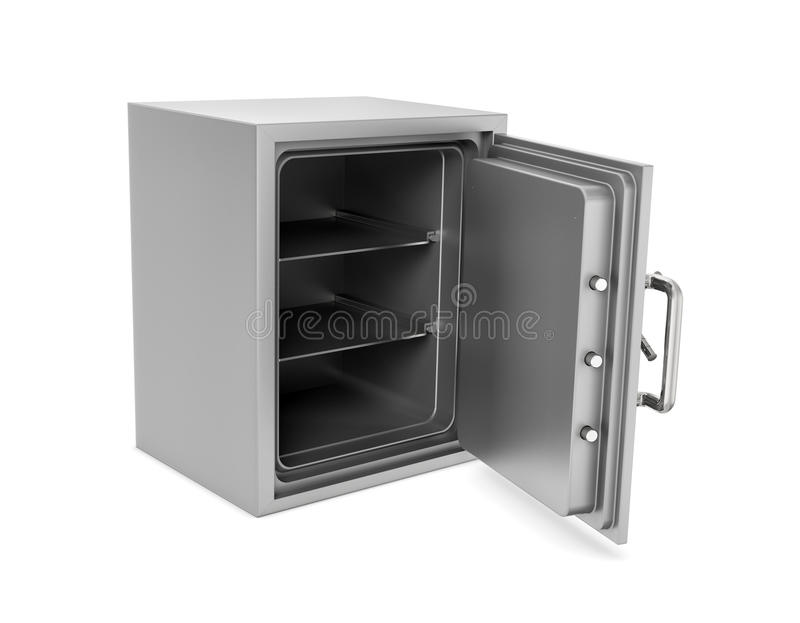 Rendering of open safe box with its door broken isolated on white background. stock images