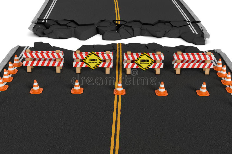 Download Rendering Of Road Closed With Barriers, Traffic Cones And Caution Signs Due To Roadworks Diversion. Stock Illustration - Illustration: 80696670