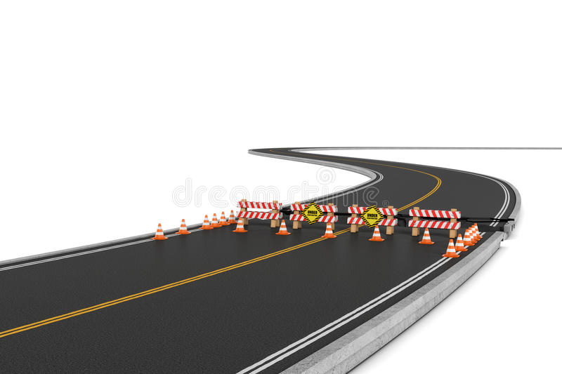 Download Rendering Of Road Closed With Barriers, Traffic Cones And Caution Signs Due To Roadworks Diversion. Stock Illustration - Image: 80825811