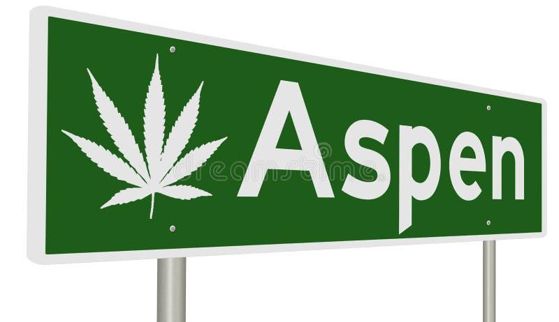 Aspen highway sign with marijuana leaf. Rendering of a road sign with marijuana leaf for Aspen stock illustration