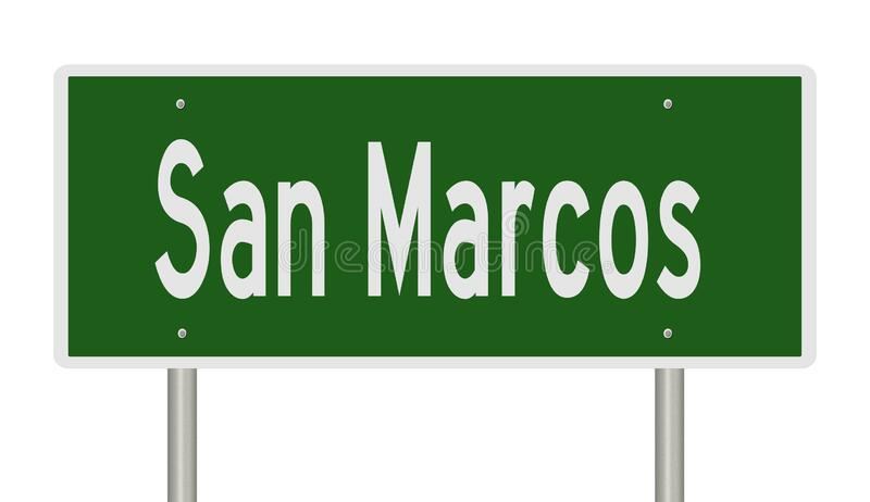 Green highway sign for San Marcos. Rendering of a road sign for San Marcos Texas stock illustration