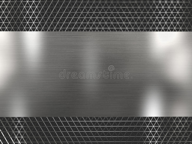 Rendering silver metallic grid background royalty free stock photo