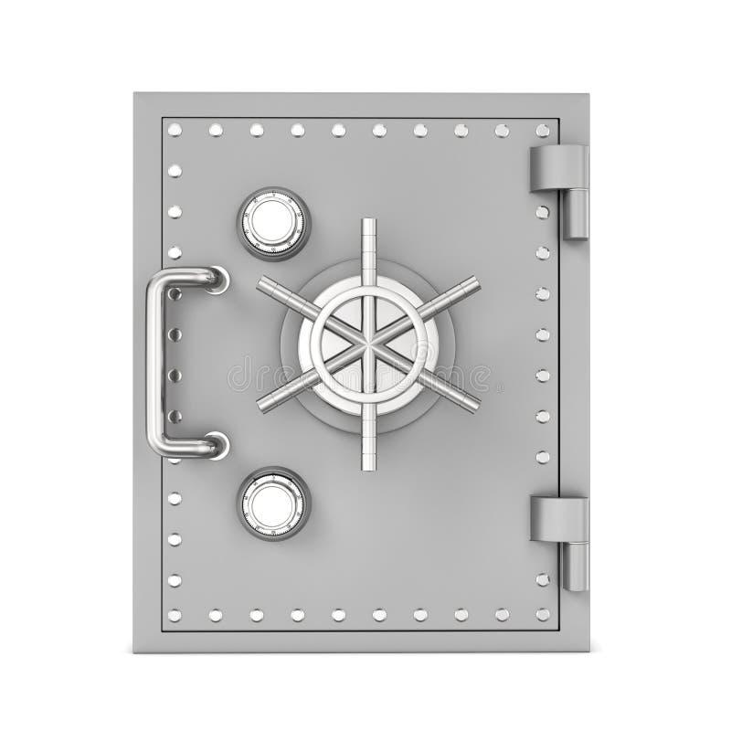 Rendering stalowy skrytki pudełko, odosobniony na białym tle fotografia royalty free