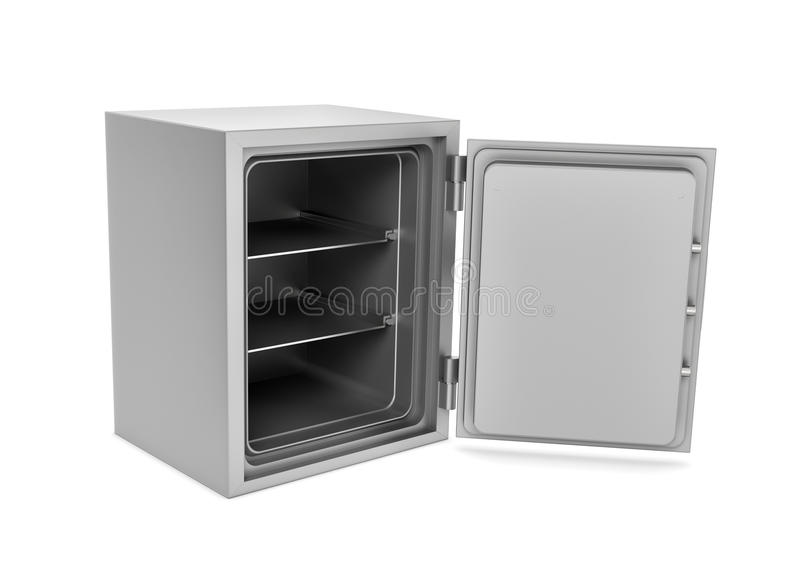 Rendering of steel safe box with open door, isolated on white background stock images