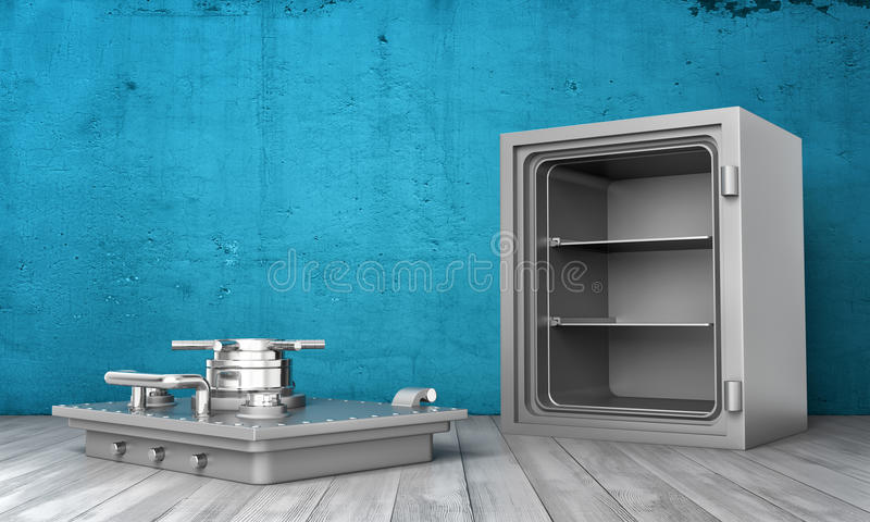 Rendering of steel safe box standing on wooden floor with its cover removed lying next to it. 3d rendering of a steel safe box standing on wooden floor with its stock photography