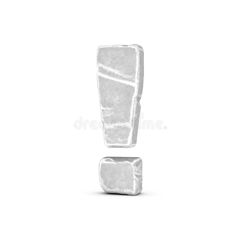 Rendering of stone exclamation point isolated on white background. vector illustration
