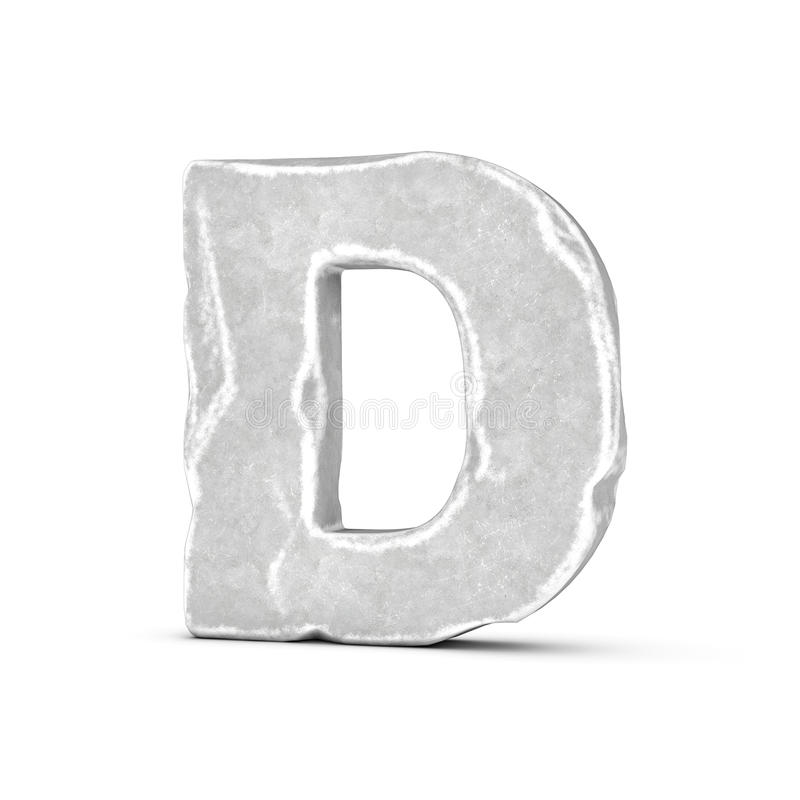 Rendering of stone letter D isolated on white background. 3D rendering of stone letter D isolated on white background. Figures and symbols. Cracked surface stock illustration