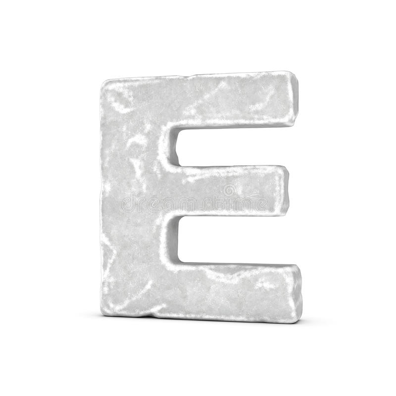 Rendering of stone letter E isolated on white background. stock illustration