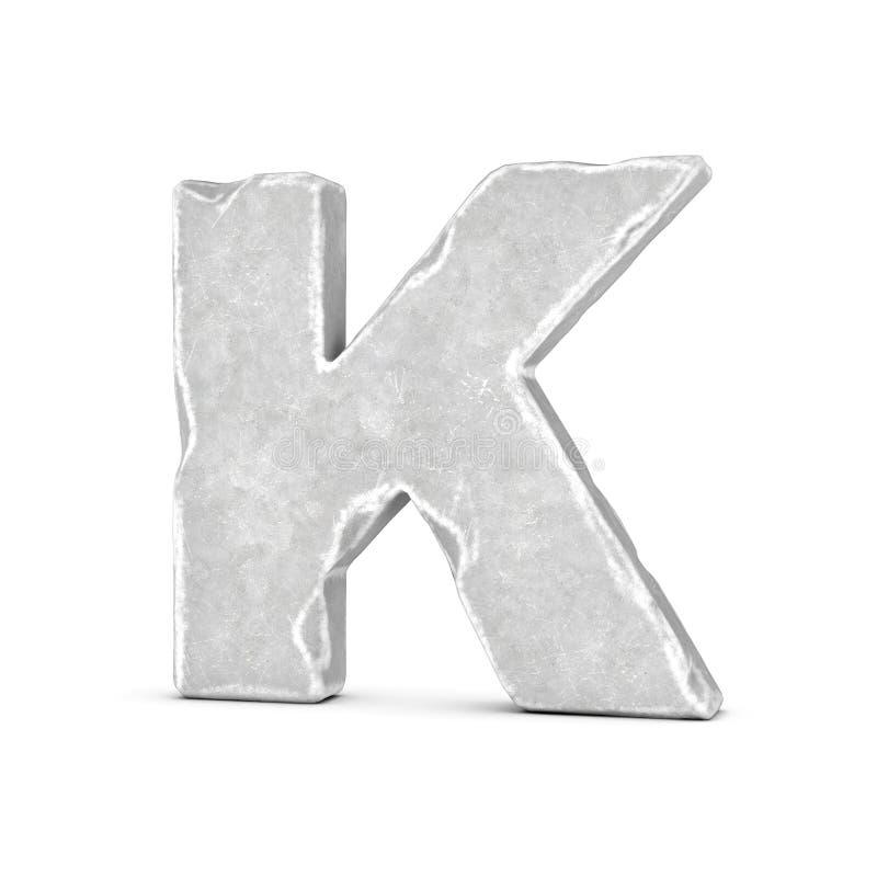 Rendering of stone letter K isolated on white background. 3D rendering of stone letter K isolated on white background. Figures and symbols. Cracked surface stock illustration
