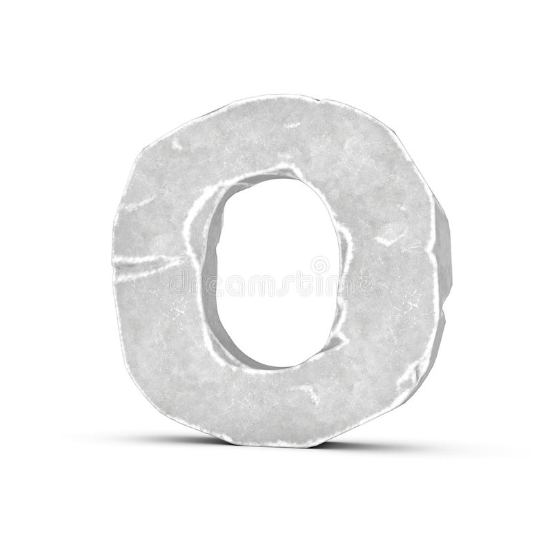 Rendering of stone letter O isolated on white background. 3D rendering of stone letter O isolated on white background. Figures and symbols. Cracked surface royalty free illustration