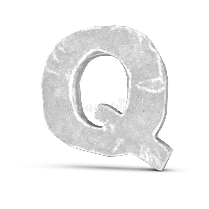Rendering of stone letter Q isolated on white background. 3D rendering of stone letter Q isolated on white background. Figures and symbols. Cracked surface stock illustration