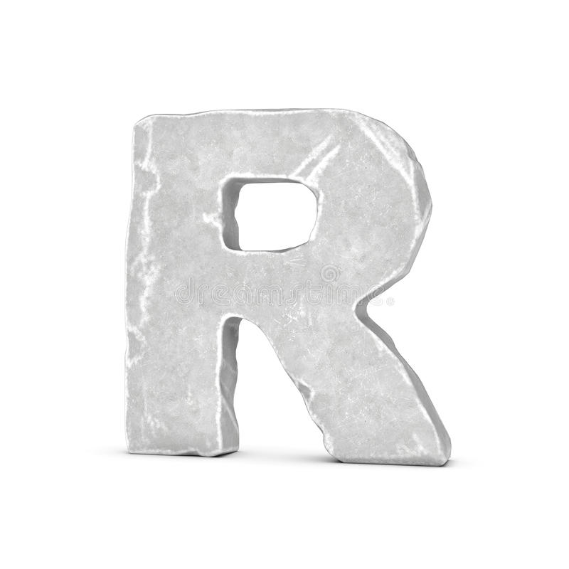 Rendering of stone letter R isolated on white background. royalty free illustration