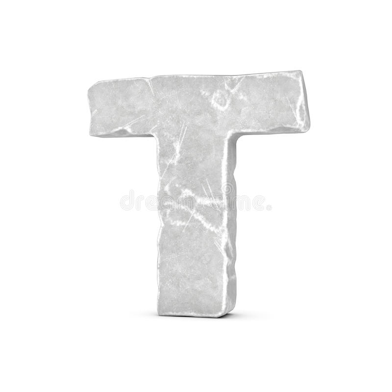 Rendering of stone letter T isolated on white background. vector illustration