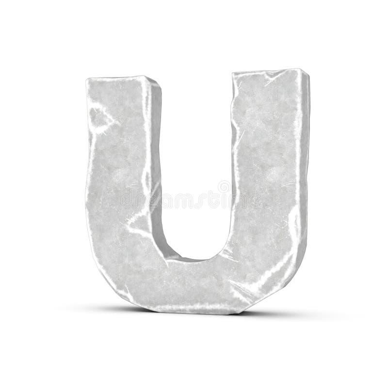 Rendering of stone letter U isolated on white background. stock illustration