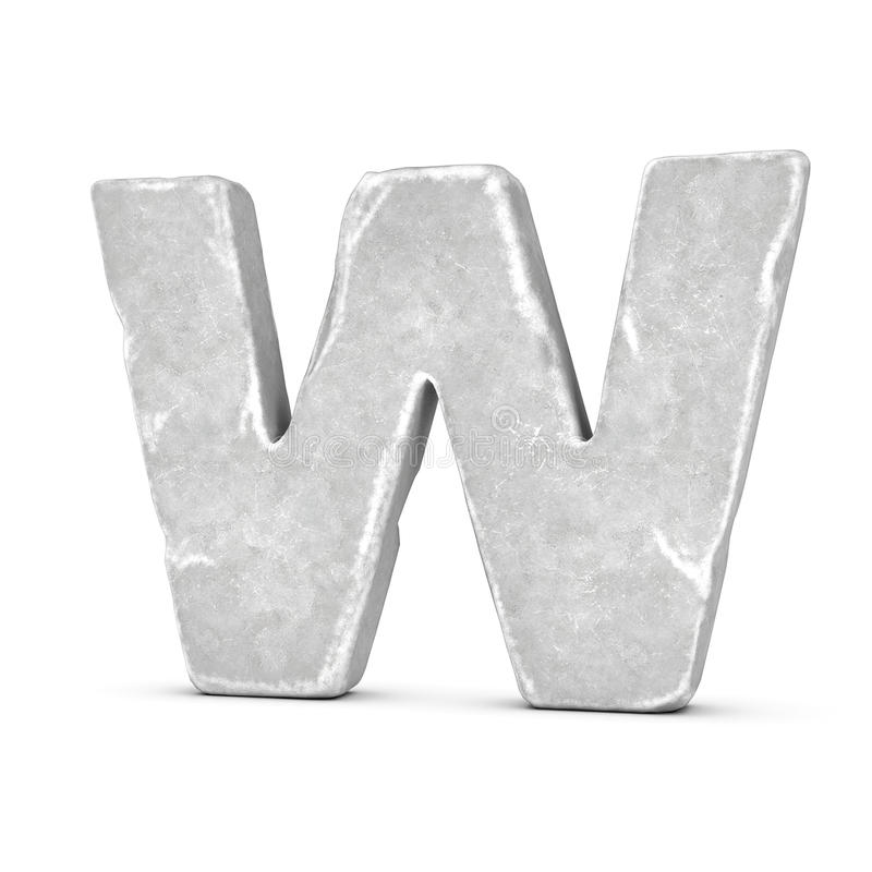 Rendering of stone letter W isolated on white background. 3D rendering of stone letter W isolated on white background. Figures and symbols. Cracked surface royalty free illustration