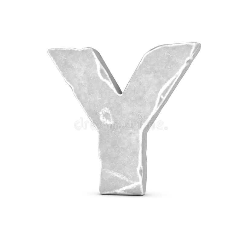 Rendering of stone letter Y isolated on white background. 3D rendering of stone letter Y isolated on white background. Figures and symbols. Cracked surface vector illustration