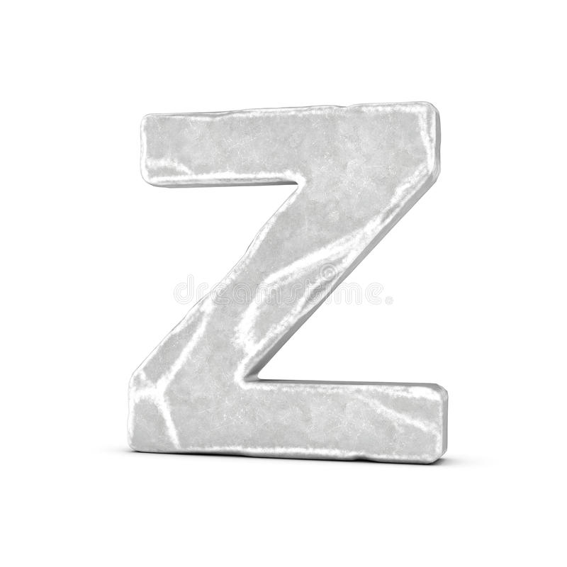 Rendering of stone letter Z isolated on white background. 3D rendering of stone letter Z isolated on white background. Figures and symbols. Cracked surface vector illustration
