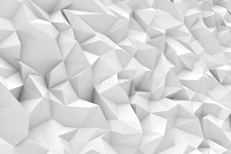 Rendering of white polygonal triangular geometric abstract background. 3d rendering of white polygonal triangular geometric abstract background. Geometric royalty free illustration