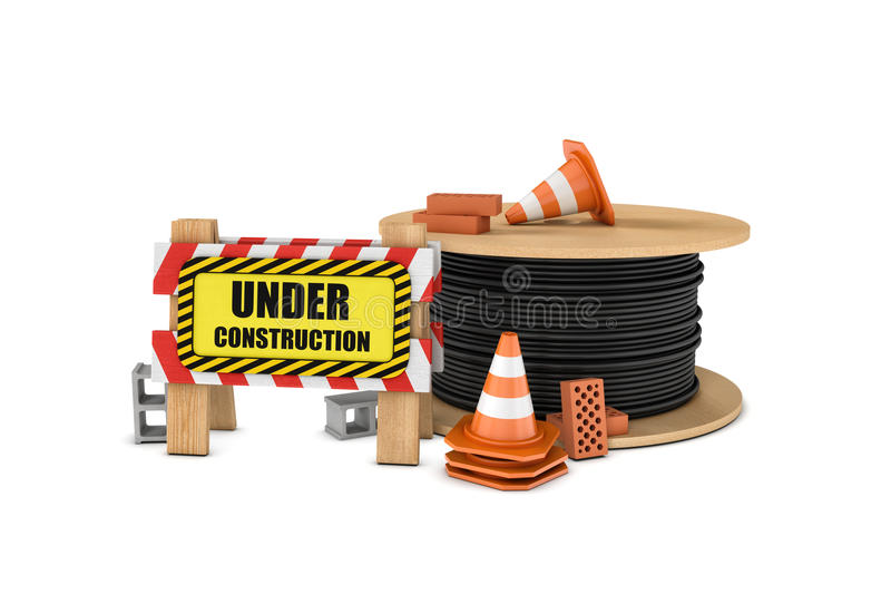 Rendering of wooden barrier with under construction sign, big cable drum and some traffic cones, bricks, concrete blocks. 3d rendering of a wooden barrier with royalty free illustration