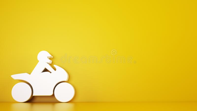 Rendering of a yellow background with white 3D toy motorcycle, automotive services concept stock photos