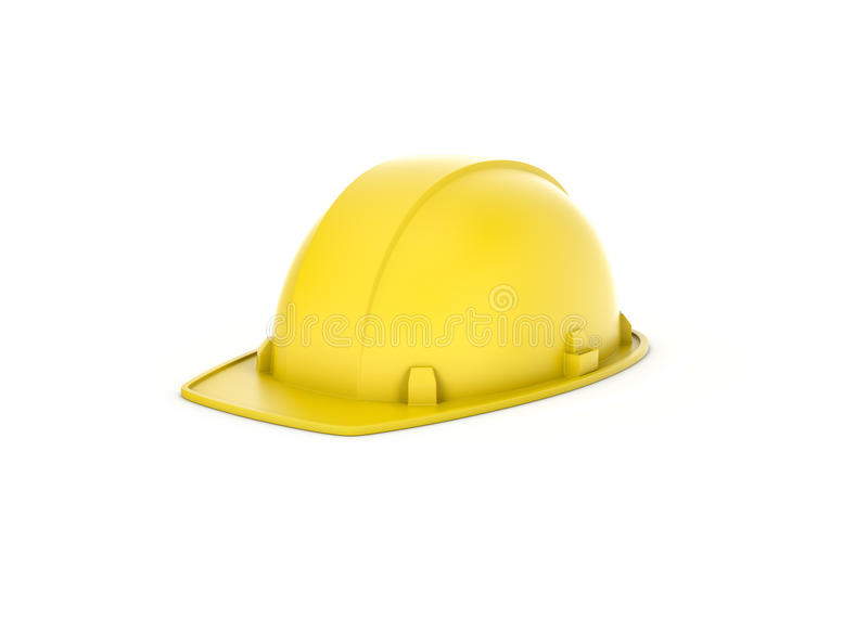 Rendering of yellow helmet isolated on the white background. royalty free stock images
