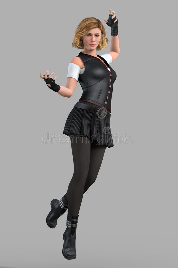 Rendering of a young urban fantasy style woman leaping into the air. Beautiful 3D urban fantasy style young woman levitating into the air in magical pose stock illustration