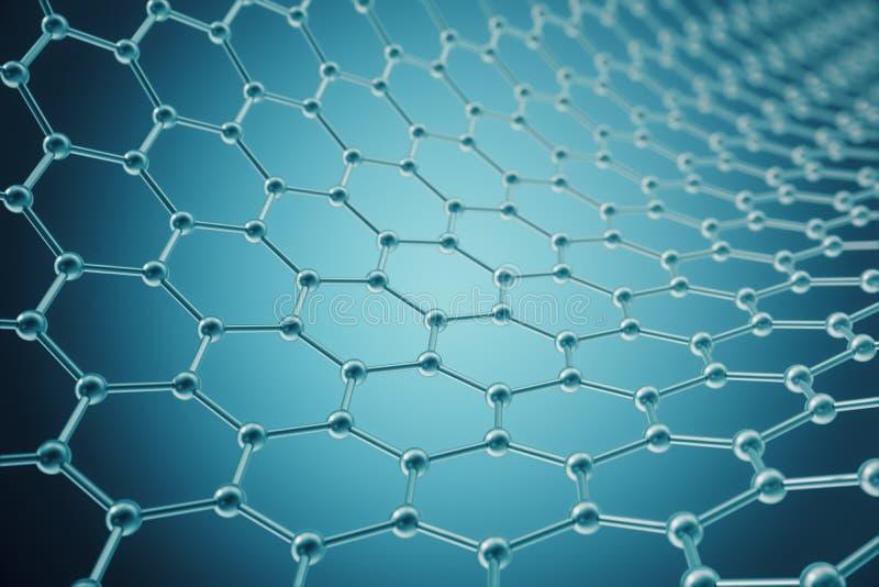 Renderingu nanotechnologiego heksagonalny geometryczny formularzowy zakończenie, pojęcia graphene atomowa struktura, cząsteczkowa ilustracji