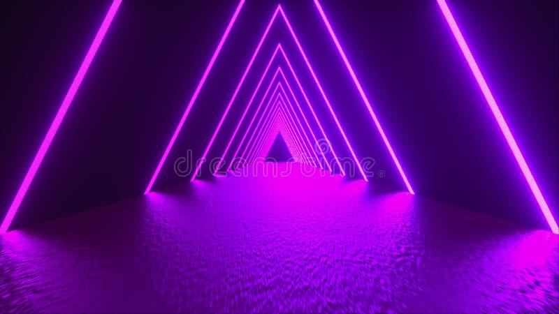 Renderowanie 3D, abstrakcyjne tło, rzeczywistość wirtualna, wygenerowane przez komputer świetlówkowe światło ultrafioletowe, świe ilustracja wektor