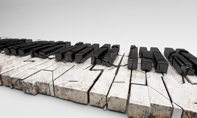 Renderowanie 3D Złamany i stary pianino zdjęcia stock