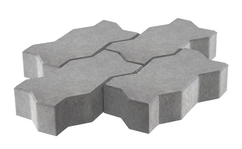 Rendez de la serrure trois grise pavant des briques D'isolement sur le fond blanc illustration de vecteur