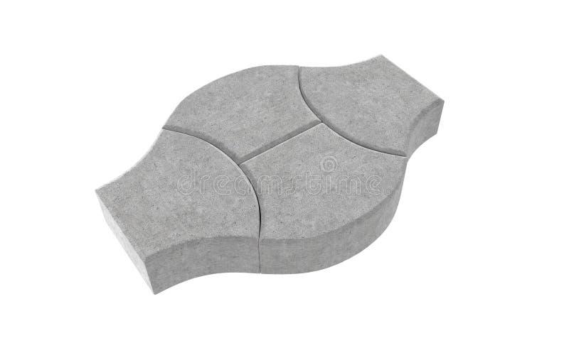 Rendez de la serrure trois grise pavant des briques D'isolement sur le fond blanc illustration stock