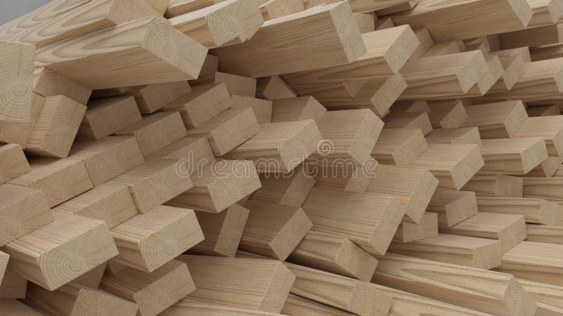 Rendez des poutres et des planches de bois de construction de la construction 3D photographie stock libre de droits