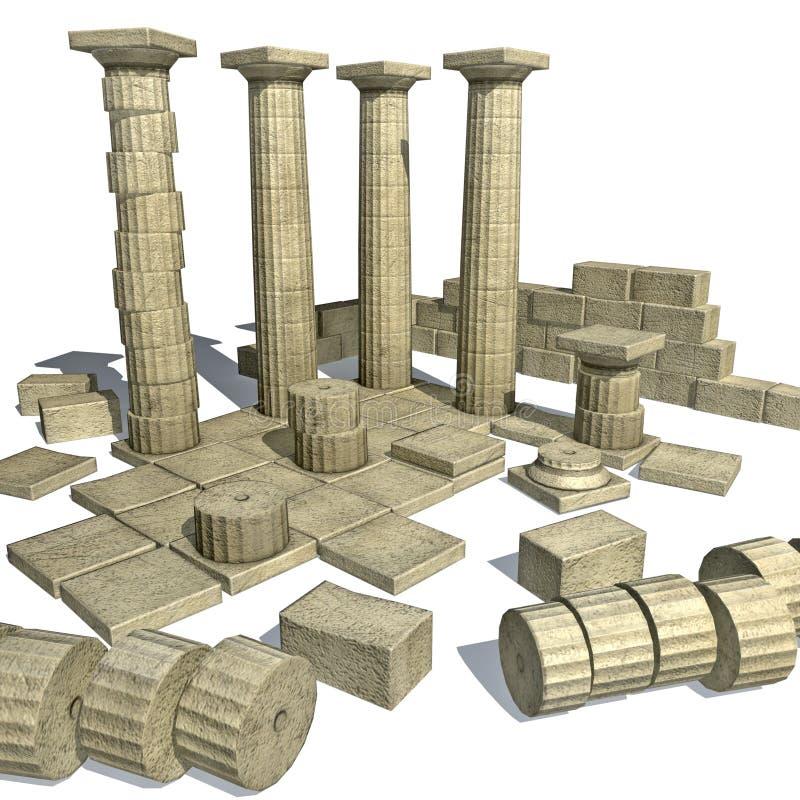 Rendez des ruines grecques avec des fléaux de parthenon illustration de vecteur