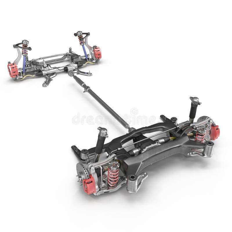 Rendez du châssis de voiture sans moteur d'isolement sur le blanc illustration 3D illustration de vecteur