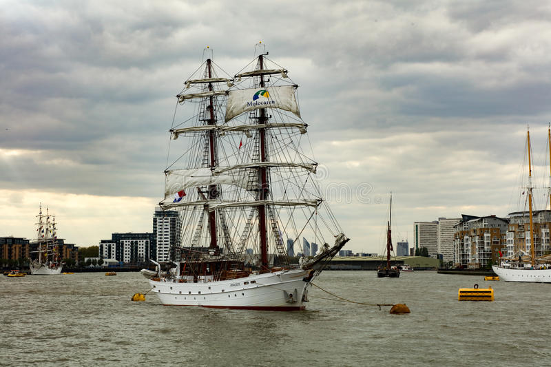 Rendez-Vous Tall Ships Regatta 2017 Greenwich river Thames. The Rendez-Vous 2017 Tall Ships Regatta will see 30 Tall Ships set sail for Quebec in Canada from stock photography