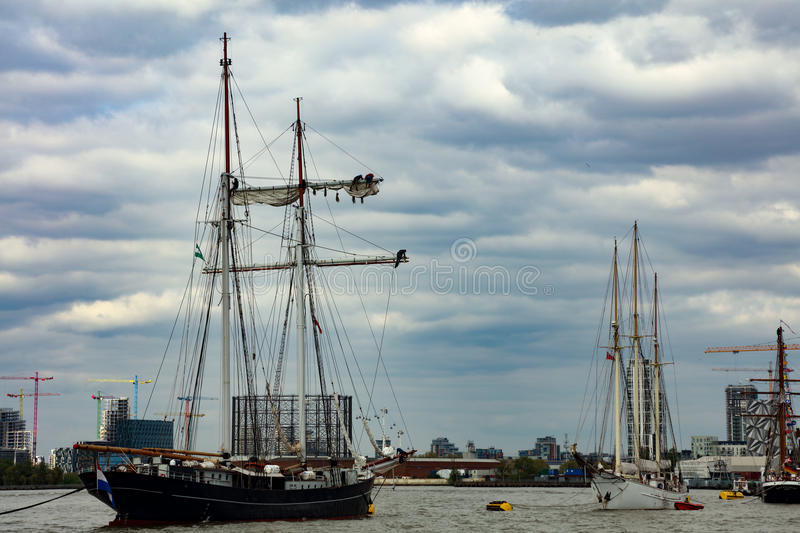 Rendez-Vous Tall Ships Regatta 2017 Greenwich river Thames. The Rendez-Vous 2017 Tall Ships Regatta will see 30 Tall Ships set sail for Quebec in Canada from royalty free stock images