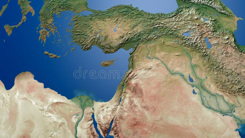 Rendição árabe do leste do mapa 3d do Golfo Pérsico do mapa do golfo de Turquia Palestina Israel Middle ilustração stock