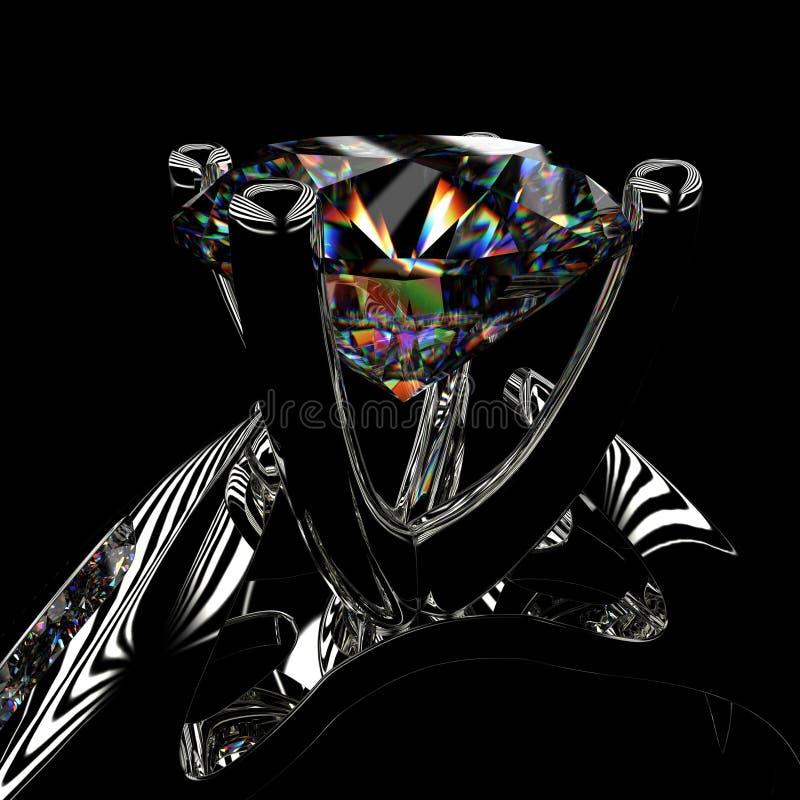rendição 3d de um anel de diamante ilustração do vetor